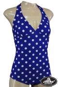 Fifties Vintage Polka Dots Bathing Suit Blue