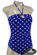 One Piece Halter-Neck Polka Dot Swimsuit