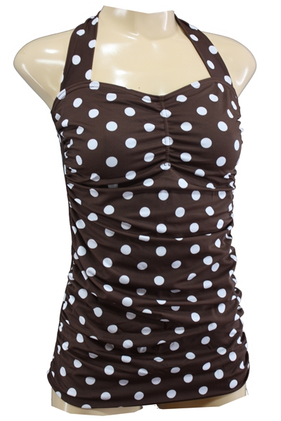 50s Vintage Dots Swimsuit Brown