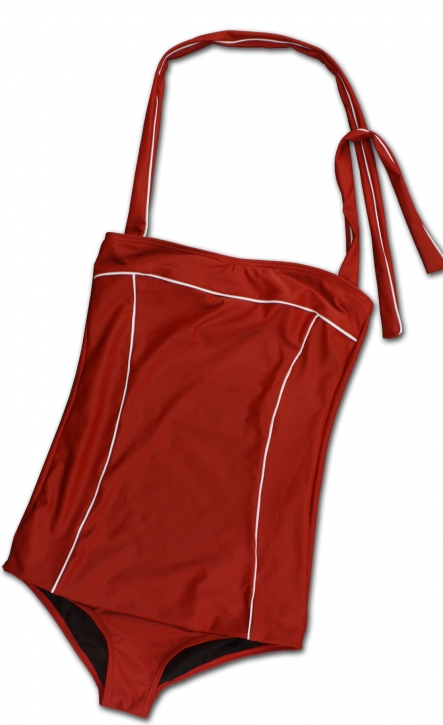 Authentic 50s true vintage bathing suit uni red retro
