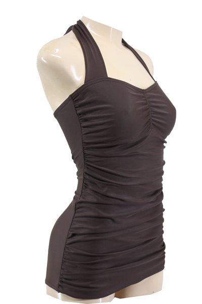 50s Look Vintage Pin Up Halter Swimsuit Brown