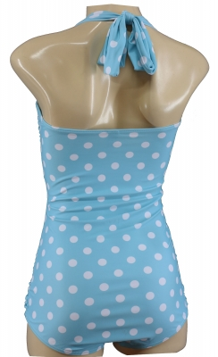true Vintage swimsuit with Polka Dots Cyan Punkte