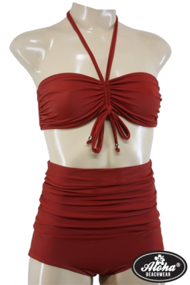 Bikini Vintage High Waisted Rot Pin Up